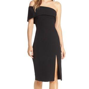 Eliza J Black One Shoulder Midi Scuba Dress SZ 12
